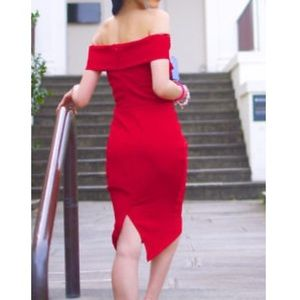 Zara Off Shoulder Red Dress
